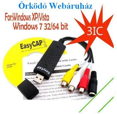 Usb digitalizáló Easycap digitalizálás DC60 3IC, XP/ Vista, Win7 32/64bit
