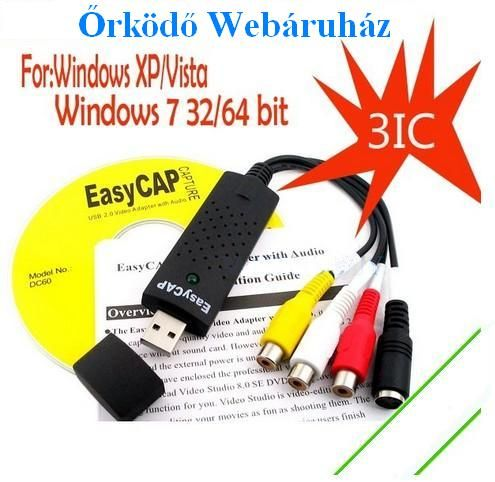 Usb digitalizáló Easycap digitalizálás DC60 3IC, XP/ Vista, Win7 32/64bit