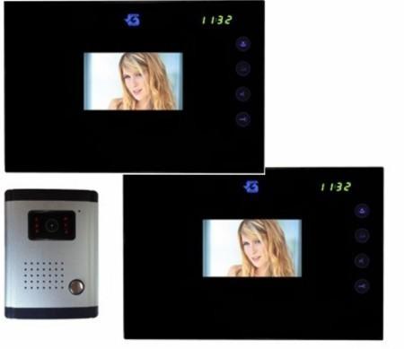 """Gegensprechanlage Set mit farbiger Videokamera mit 2 St. 4.2"""" LCD / TFT Touchscreenmonitor"""