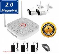 Vezeték nélküli 2MP IP kamera rendszer 2db Wifi Full HD kamerával
