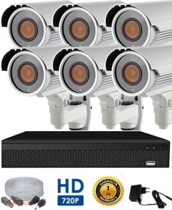 AHD-42 Überwachungssystem mit 6 Kameras 5X ZOOM HD 1280X720 Auflösung