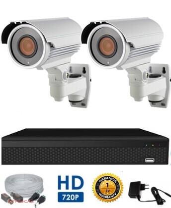 AHD-42 Überwachungssystem mit 2 Kameras 5X ZOOM HD 1280X720 Auflösung