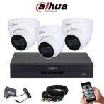 Dahua 5 megapixeles 3 dome kamerás rendszer 25 méter látótávolság