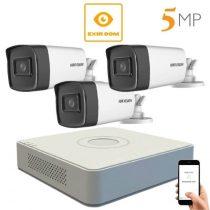 5 megapixeles Hikvision 3 kamerás rendszer 80 méter látótávolság