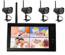 4 kamerás monitoros vezeték nélküli kamera rendszer VGA SD kártya rögzítés