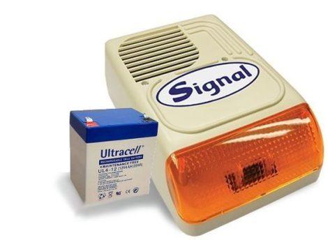 SIGNAL PS-128A sziréna - 12V 4Ah akkumulátor szett