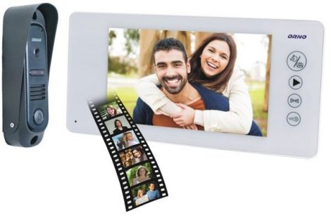 Gegensprechanlage mit farbiger Videokamera Set und Überwwachungskamera  ORNO OR-VID-JS-1040-W weiß