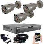 5 megapixeles AHD 3 biztonsági kamerás rendszer házilag szerelhető szett