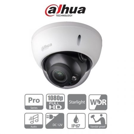 Dahua 4in1 Analóg dómkamera - HAC-HDBW2241R-Z  (2MP, 2,7-13,5mm, kültéri, IR30m, ICR, IP67, WDR, IK10, audio, StarLight)