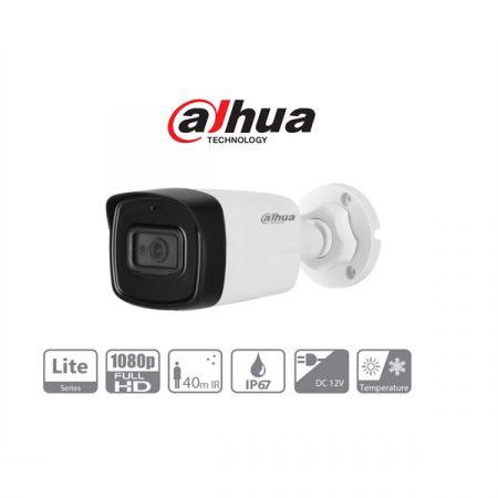 Dahua 4in1 Analóg csőkamera - HAC-HFW1200TL-A (2MP, 3,6mm, kültéri, IR80m, ICR, IP67, DWDR, mikrofon, műanyag)
