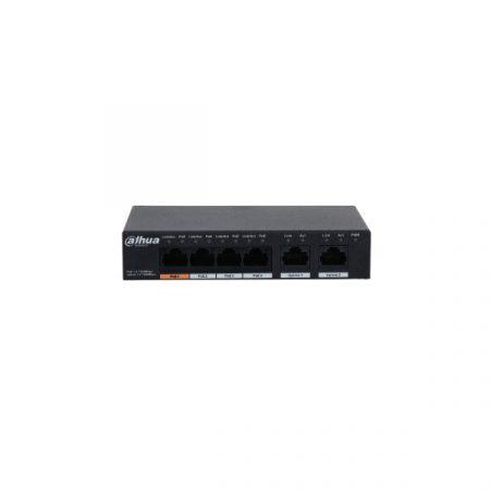 Dahua PoE switch - PFS3006-4GT-60 (4x 1Gbps PoE + 2x 1Gbps uplink, 60W)