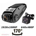 Full HD kétkamerás autós kamera és tolatókamera 170 fokos látószöggel