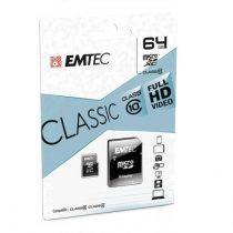 EMTEC 64 GB microSD memóriakártya + adapter Class 10