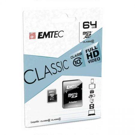 EMTEC 64 GB microSD memóriakártya + adapter Class 10 UHS-I 85MB/s