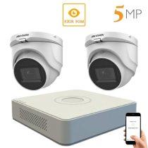 Hikvision 5 megapixeles 2 dome kamerás rendszer 30 méteres látótávolsággal