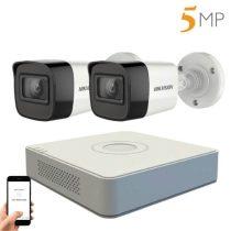 Hikvision 5 megapixeles 2 kamerás kamerarendszer 20 méter látótávolsággal