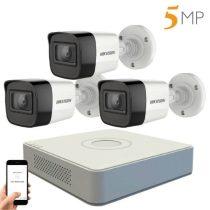 Hikvision 5 megapixeles 3 kamerás kamerarendszer 20 méter látótávolsággal