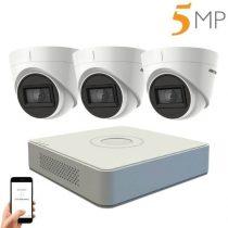 Hikvision 5 megapixeles 3 kamerás dome kamerarendszer 40 méter látótávolsággal