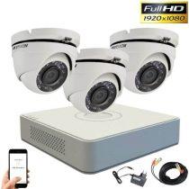 Hikvision TurboHD Überwachungssystem mit 3 Dome Kamera 2MP