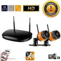 WiFi IP vezeték nelküli kamera rendszer 2db HD kamerával fekete narancs