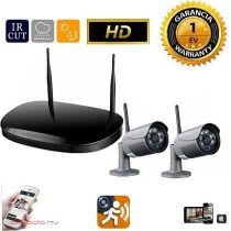 WiFi IP vezeték nelküli kamera rendszer 2db HD kamerával fekete