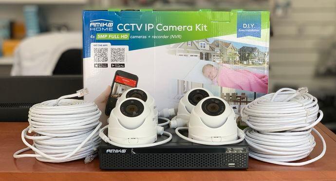 5 megapixeles 4 kamerás IP rendszer komplett szett