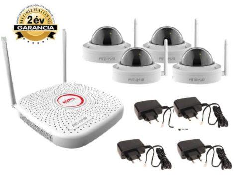 Vezeték nélküli Wifi kamera rendszer 4 dome kamerával beépített mikrofonnal KIT-4800