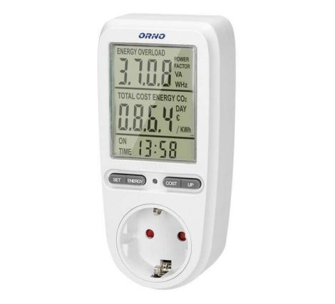 ORNO Digitális energiafogyasztás mérő LCD kijelzővel OR-WAT-435(GS)