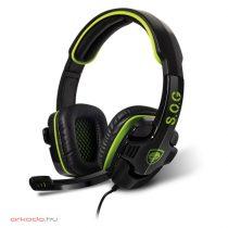 Spirit of Gamer Fejhallgató - ELITE-H8 (mikrofon, 3.5mm jack, hangerőszabályzó, nagy-párnás, 1.8m kábel, fekete-zöld)