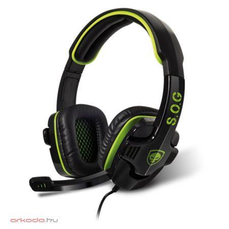 Spirit of Gamer Fejhallgató - ELITE-H8 mikrofon, 3.5mm jack, hangerőszabályzó, nagy-párnás, 1.8m kábel, fekete-zöld