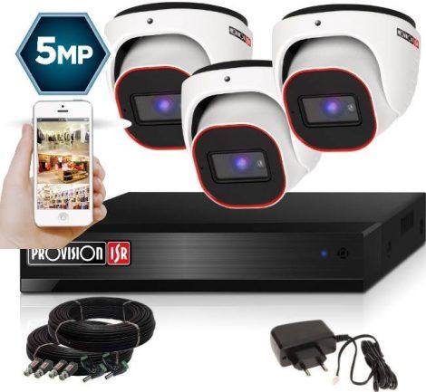 5 MegaPixel Provision AHD-30 Dome 3 kamerás kamera rendszer