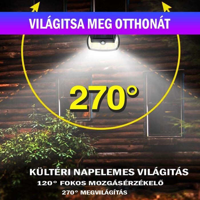 napelemes lámpa 270 fok