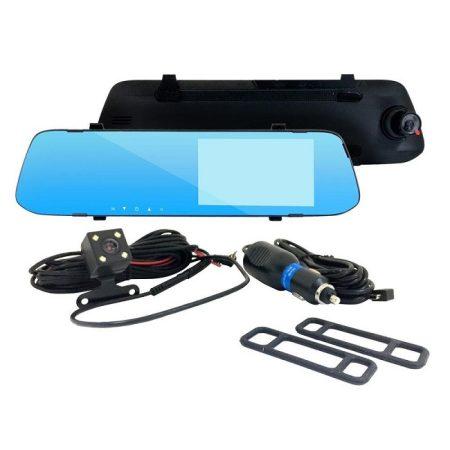 Visszapillantó tükörbe épített 2IN1 tolató és eseményrögzítő kamera érintőképernyős kijelzővel