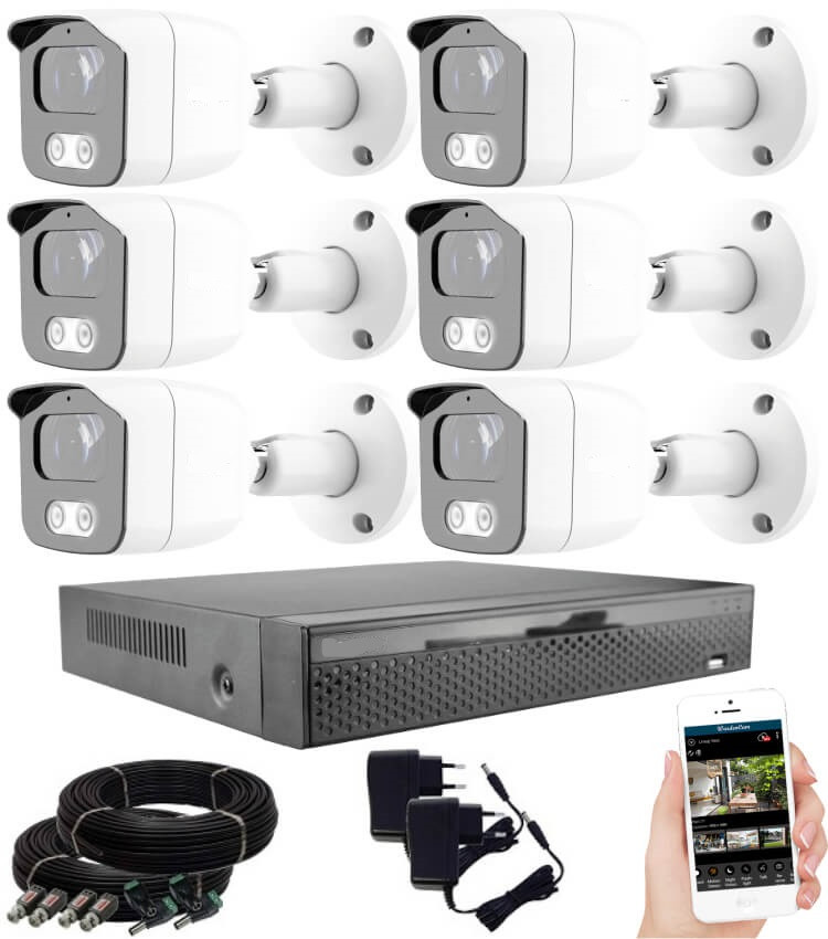 KPC Ts23 - 6 kamerás éjjellátó kamera rendszer HD 1280X720P felbontás