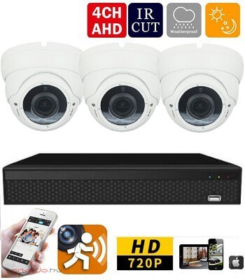 AHD-36 3 kamerás megfigyelő kamerarendszer 5X ZOOM HD 1280X720 felbontásban