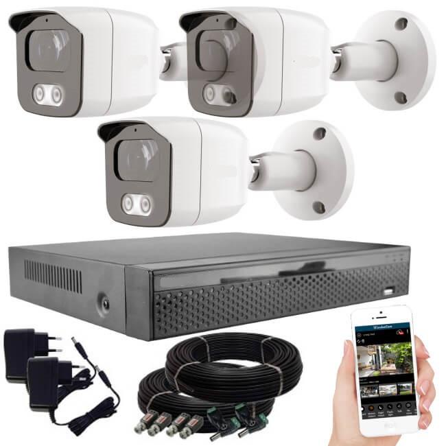 KPC Ts23 - 3 kamerás éjjellátó kamera rendszer HD 1280X720P felbontás